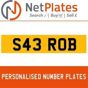 1998 S43 ROB PERSONALISED PRIVATE CHERISHED DVLA NUMBER PLATE For Sale