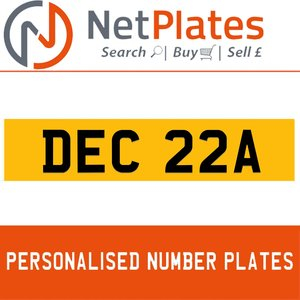 1986 DEC 22A PERSONALISED PRIVATE CHERISHED DVLA NUMBER PLATE For Sale