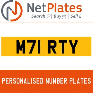 1994 M71 RTY PERSONALISED PRIVATE CHERISHED DVLA NUMBER PLATE For Sale