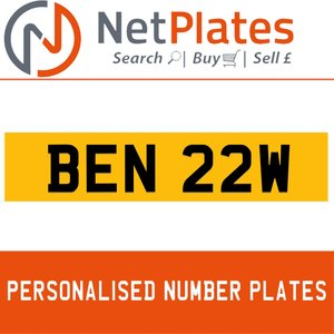 1984 BEN 22W PERSONALISED PRIVATE CHERISHED DVLA NUMBER PLATE For Sale