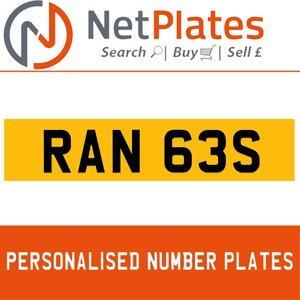 1900 RAN 63S PERSONALISED PRIVATE CHERISHED DVLA NUMBER PLATE For Sale