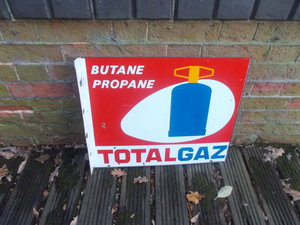 1940 VINTAGE FRENCH ENAMEL SIGN TOTAL GAZ DOUBLE SIDED