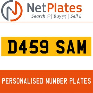 1990 D459 SAM PERSONALISED PRIVATE CHERISHED DVLA NUMBER PLATE For Sale