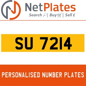 1990 SU 7214 PERSONALISED PRIVATE CHERISHED DVLA NUMBER PLATE For Sale