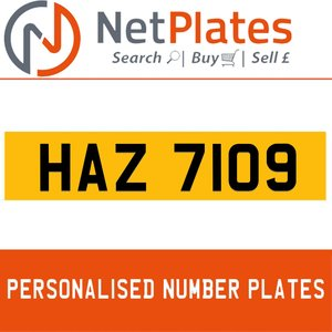 1990 HAZ 7109 PERSONALISED PRIVATE CHERISHED DVLA NUMBER PLATE For Sale