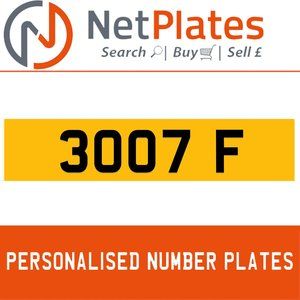 1990 3007 F PERSONALISED PRIVATE CHERISHED DVLA NUMBER PLATE For Sale
