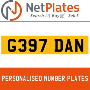 1990 G397 DAN PERSONALISED PRIVATE CHERISHED DVLA NUMBER PLATE For Sale