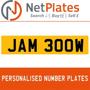 1990 JAM 300W PERSONALISED PRIVATE CHERISHED DVLA NUMBER PLATE For Sale