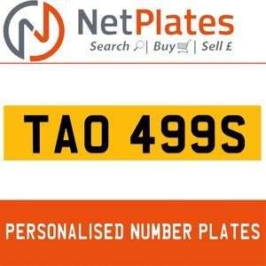 1990 TAO 499S PERSONALISED PRIVATE CHERISHED DVLA NUMBER PLATE For Sale