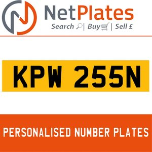 1990 KPW 255N PERSONALISED PRIVATE CHERISHED DVLA NUMBER PLATE For Sale