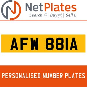 1990 AFW 881A PERSONALISED PRIVATE CHERISHED DVLA NUMBER PLATE For Sale