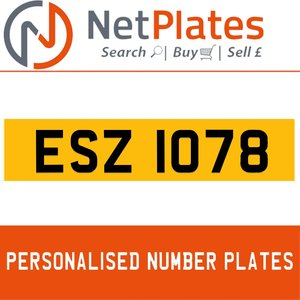 1990 ESZ 1078 PERSONALISED PRIVATE CHERISHED DVLA NUMBER PLATE For Sale