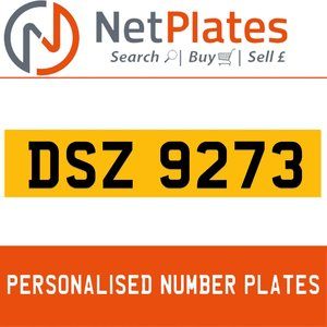 1990 DSZ 9273 PERSONALISED PRIVATE CHERISHED DVLA NUMBER PLATE For Sale