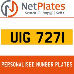1990 UIG 7271 PERSONALISED PRIVATE CHERISHED DVLA NUMBER PLATE For Sale