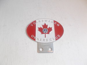 1980 VW  CANADA OWNERS CLUB CAR BADGE CHROME AND ENAMEL  For Sale