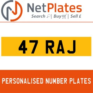 1900 47 RAJ PERSONALISED PRIVATE CHERISHED DVLA NUMBER PLATE For Sale