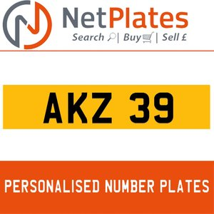 1900 AKZ 39 PERSONALISED PRIVATE CHERISHED DVLA NUMBER PLATE For Sale