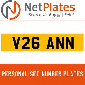 1900 V26 ANN PERSONALISED PRIVATE CHERISHED DVLA NUMBER PLATE For Sale