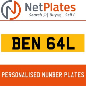 1900 BEN 64L PERSONALISED PRIVATE CHERISHED DVLA NUMBER PLATE For Sale