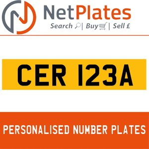 1900 CER 123A PERSONALISED PRIVATE CHERISHED DVLA NUMBER PLATE For Sale