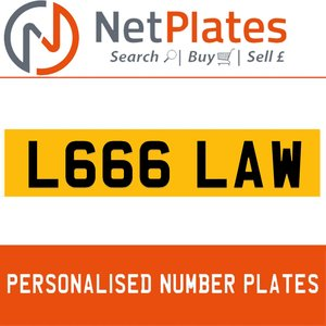 1900 L666 LAW PERSONALISED PRIVATE CHERISHED DVLA NUMBER PLATE For Sale