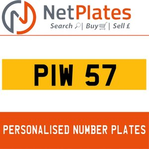 PIW 57 PERSONALISED PRIVATE CHERISHED DVLA NUMBER PLATE