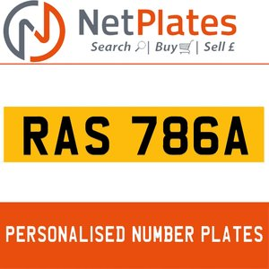 RAS 786A PERSONALISED PRIVATE CHERISHED DVLA NUMBER PLATE