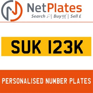 1971 SUK 123K PERSONALISED PRIVATE CHERISHED DVLA NUMBER PLATE For Sale