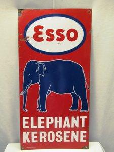 1921 Esso ELEPHANT OIL KEROSENE VINTAGE ENAMEL SIGN