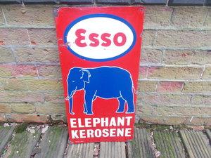 Garage Esso  Kerosene Elephant Enamel Sign 1930 rare