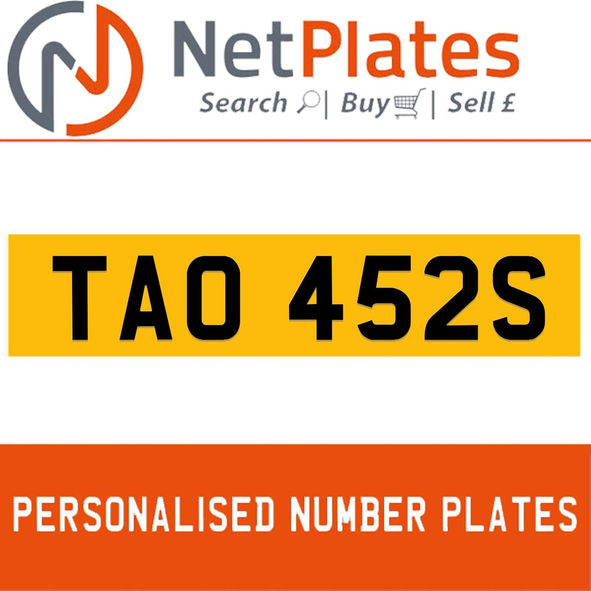 1900 TAO 452S PERSONALISED PRIVATE CHERISHED DVLA NUMBER PLATE For Sale (picture 1 of 5)