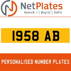 1900 1958 AB PERSONALISED PRIVATE CHERISHED DVLA NUMBER PLATE For Sale