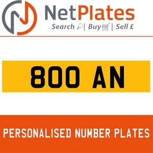 1900 800 AN PERSONALISED PRIVATE CHERISHED DVLA NUMBER PLATE For Sale