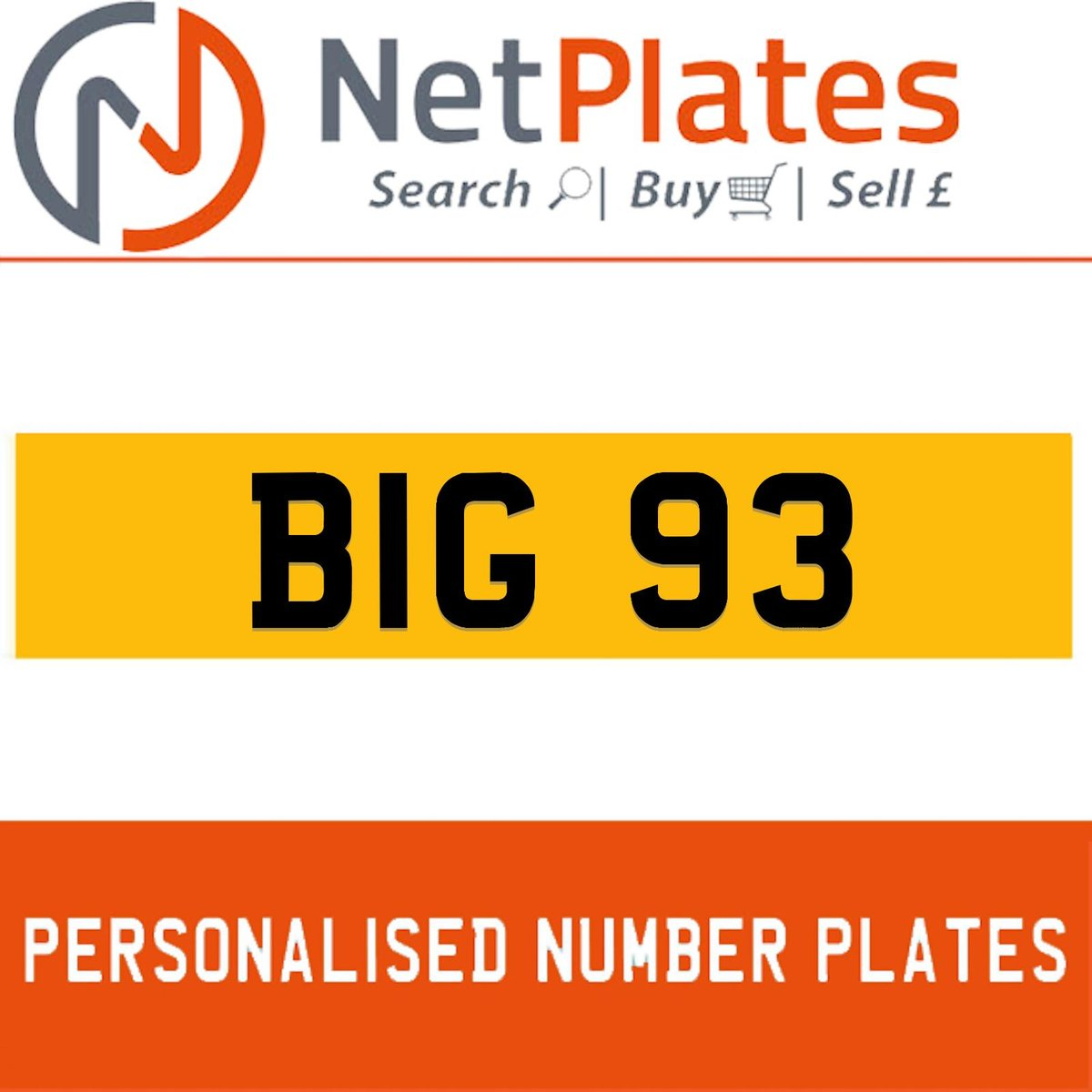 1900 BIG 93 PERSONALISED PRIVATE CHERISHED DVLA NUMBER PLATE For Sale (picture 1 of 5)
