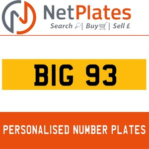 1900 BIG 93 PERSONALISED PRIVATE CHERISHED DVLA NUMBER PLATE For Sale