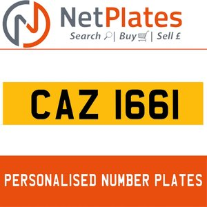 CAZ 1661 PERSONALISED PRIVATE CHERISHED DVLA NUMBER PLATE