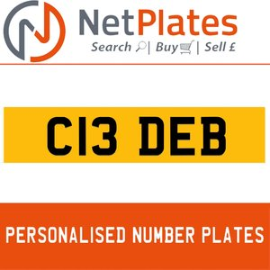 1900 C13 DEB PERSONALISED PRIVATE CHERISHED DVLA NUMBER PLATE For Sale