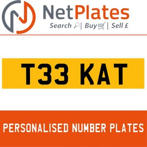 1900 T33 KAT PERSONALISED PRIVATE CHERISHED DVLA NUMBER PLATE For Sale