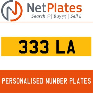 1900 333 LA PERSONALISED PRIVATE CHERISHED DVLA NUMBER PLATE
