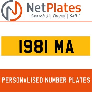 1900 1981 MA PERSONALISED PRIVATE CHERISHED DVLA NUMBER PLATE For Sale