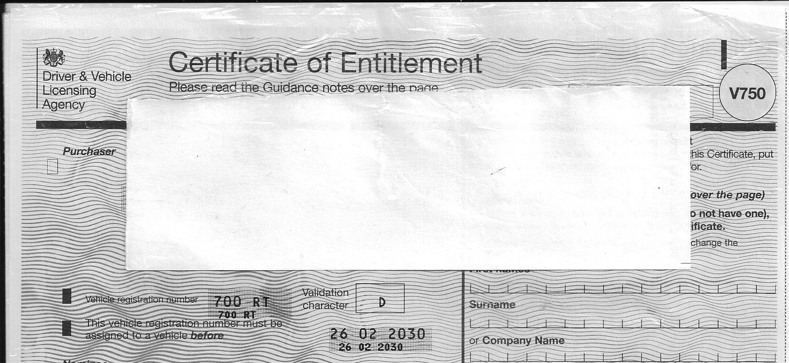 700 RT on Certificate of Entitlement For Sale (picture 2 of 3)