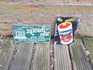 2 x Indian enamel and tin signs rare and original