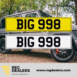BIG 998 number plate
