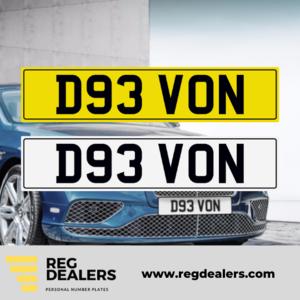 D93 VON Number Plate