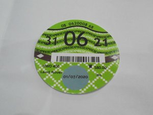 Road Tax Disc 2021. For Sale