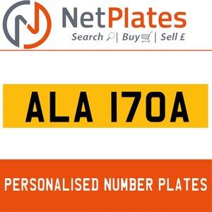 1900 ALA 170A Private Number Plate from NetPlates Ltd For Sale