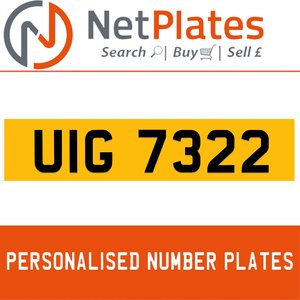 UIG 7322 Private Number Plate from NetPlates Ltd