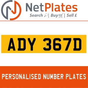 1900 ADY 367D Private Number Plate from NetPlates Ltd For Sale