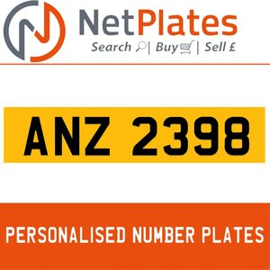 ANZ 2398 Private Number Plate from NetPlates Ltd