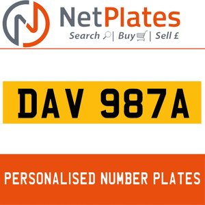1900 DAV 987A Private Number Plate from NetPlates Ltd For Sale